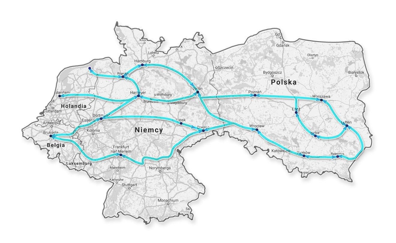 Trasa z Polski do Holandii